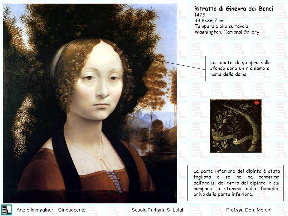 Arte e Immagine: Il CinquecentoScuola Paritaria S. LuigiProf.ssa Dora Meroni Ritratto di Ginevra dei Benci 1475 38,8×36,7 cm Tempera e olio su tavola