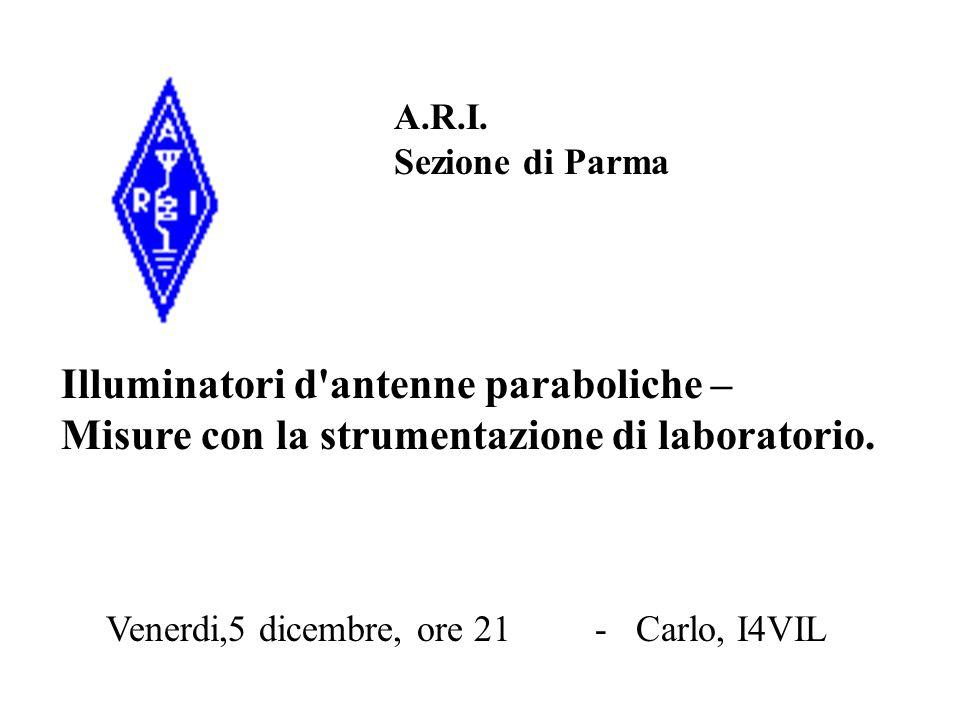 A.R.I. Sezione di Parma Venerdi,5 dicembre, ore 21 - Carlo, I4VIL Illuminatori d'antenne paraboliche – Misure con la strumentazione di laboratorio.