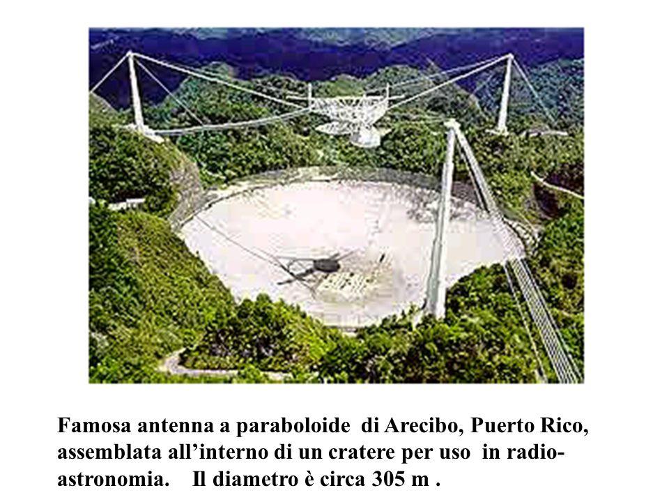 Famosa antenna a paraboloide di Arecibo, Puerto Rico, assemblata all'interno di un cratere per uso in radio- astronomia. Il diametro è circa 305 m.