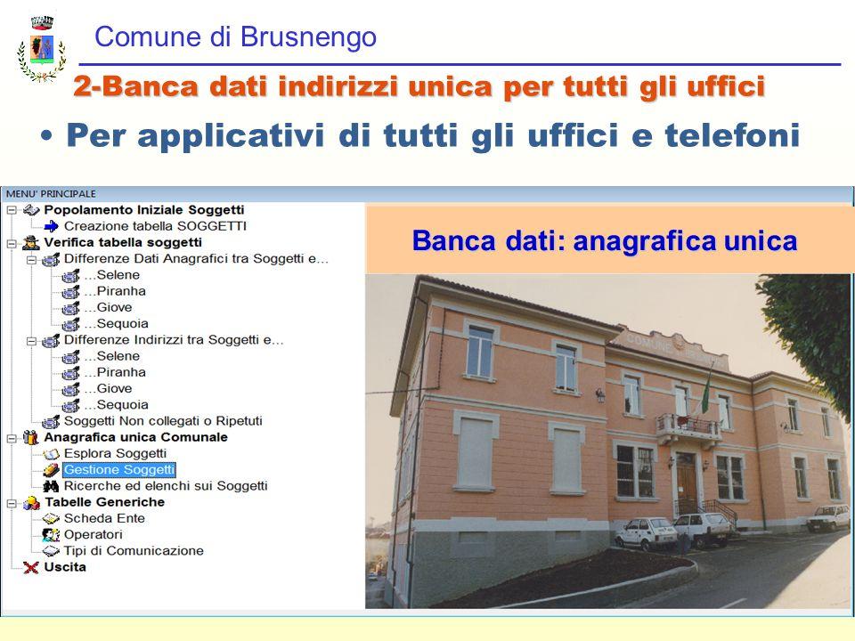 Comune di Brusnengo 2-Banca dati indirizzi unica per tutti gli uffici Per applicativi di tutti gli uffici e telefoni Banca dati: anagrafica unica