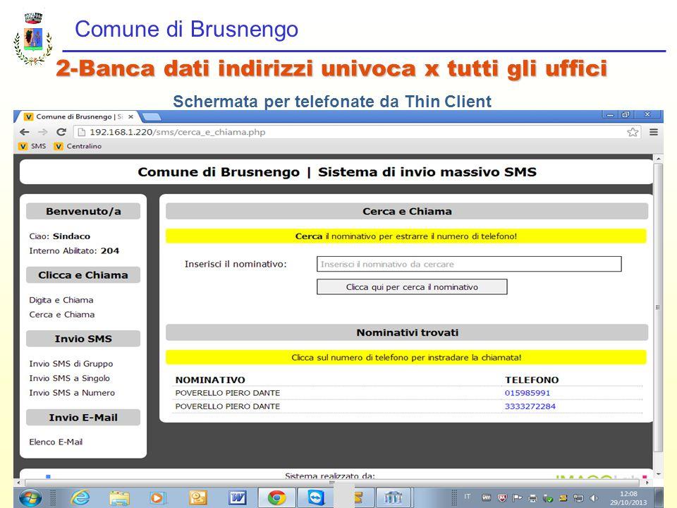 Comune di Brusnengo 2-Banca dati indirizzi univoca x tutti gli uffici Schermata per telefonate da Thin Client