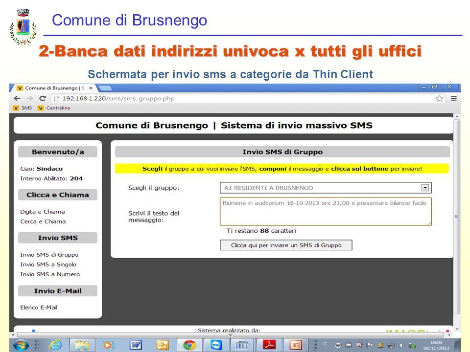 Comune di Brusnengo 2-Banca dati indirizzi univoca x tutti gli uffici Schermata per invio sms a categorie da Thin Client