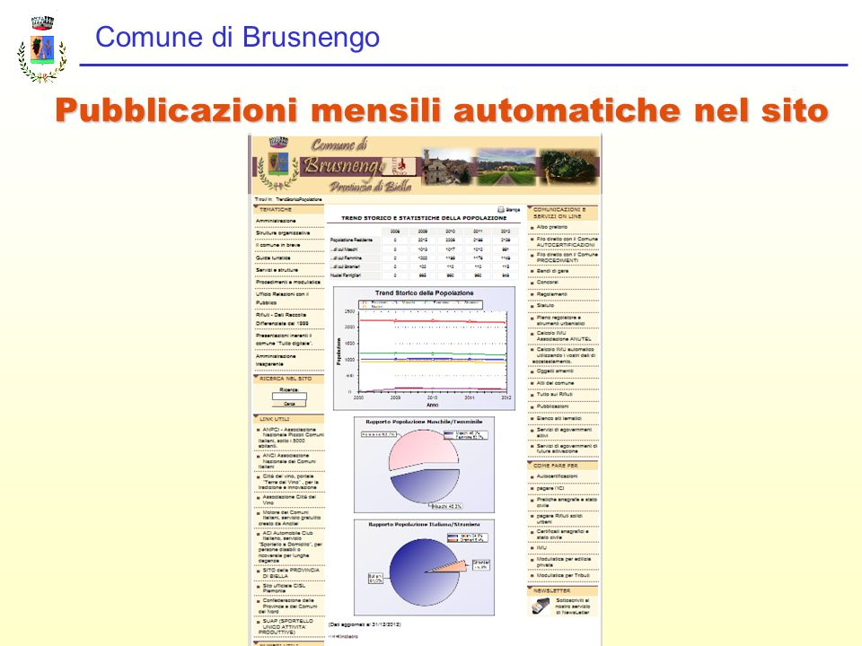 Comune di Brusnengo Pubblicazioni mensili automatiche nel sito