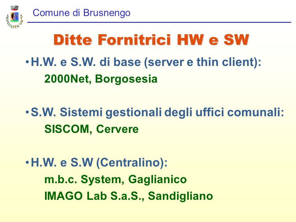 Comune di Brusnengo H.W. e S.W. di base (server e thin client): 2000Net, Borgosesia S.W.