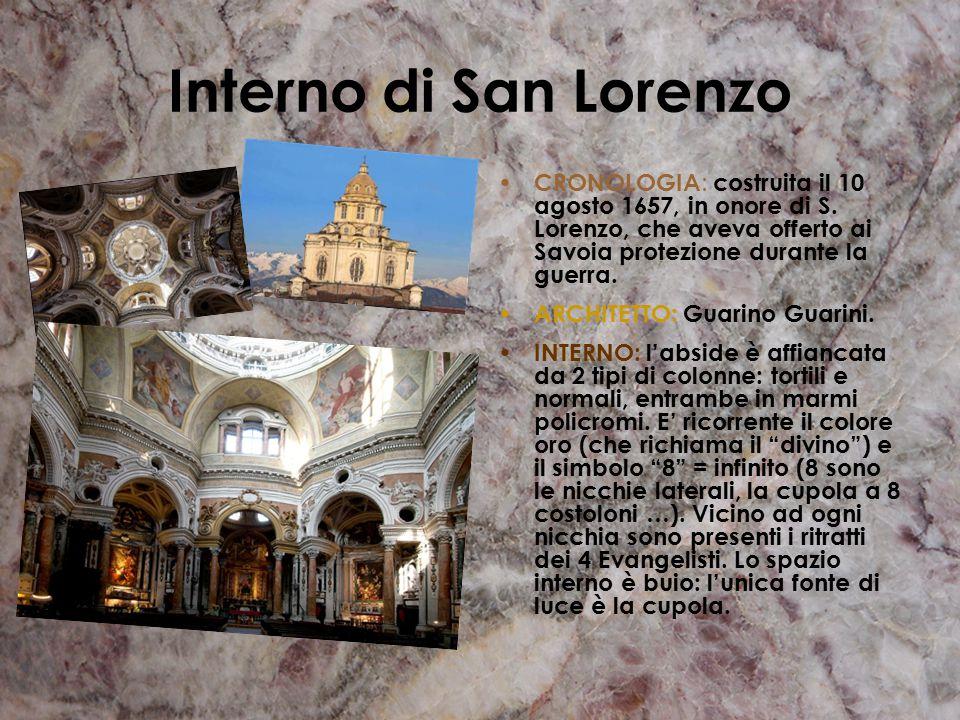 DESCRIZIONE: L'architetto Guarino Guarini trasforma l' originaria pianta a croce latina in pianta centrale costituita da un grande spazio ottagonale r