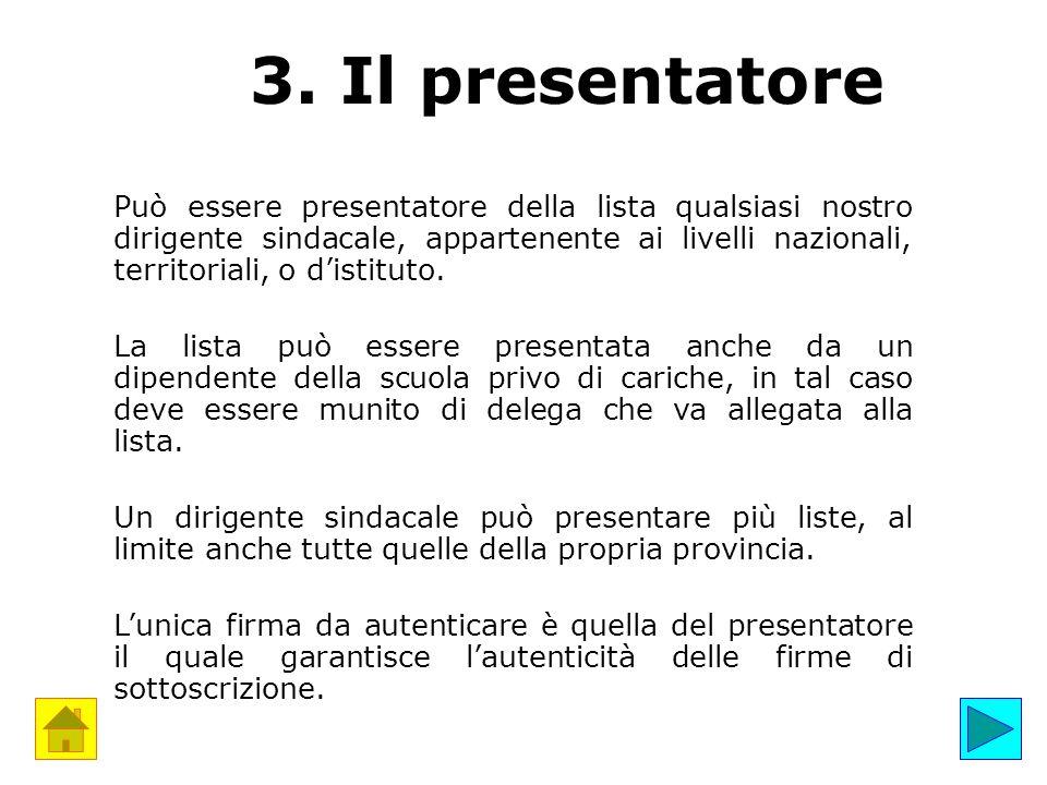 3. Il presentatore Può essere presentatore della lista qualsiasi nostro dirigente sindacale, appartenente ai livelli nazionali, territoriali, o d'isti