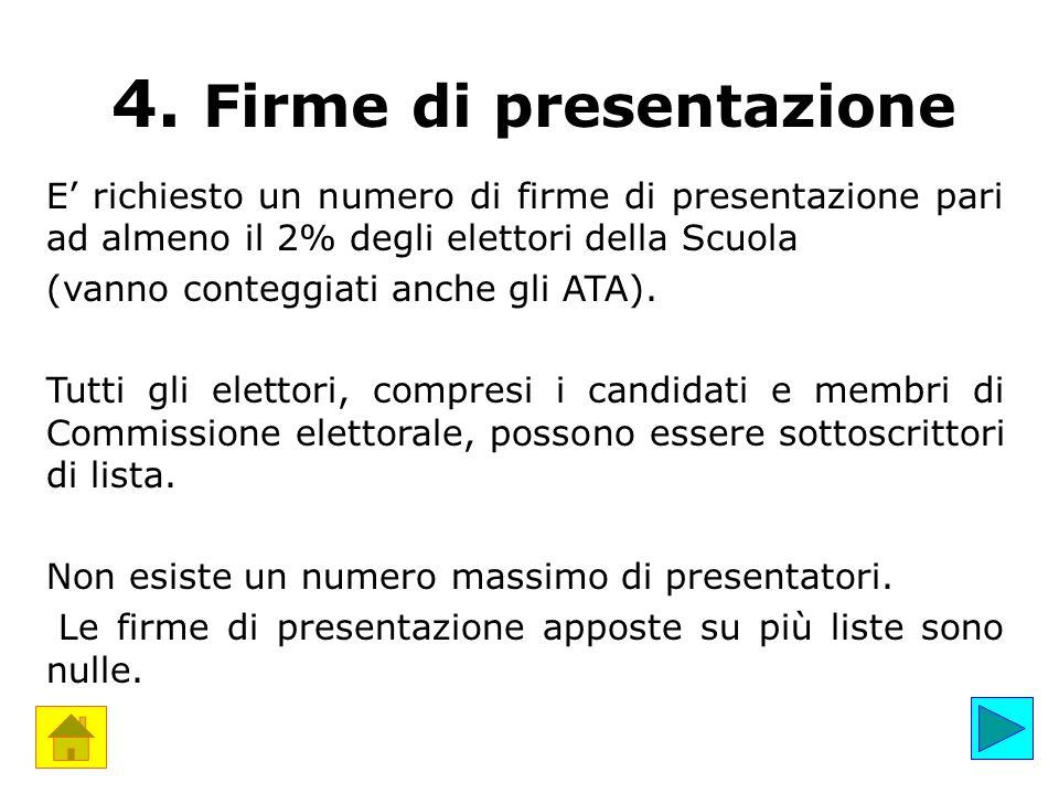 4. Firme di presentazione E' richiesto un numero di firme di presentazione pari ad almeno il 2% degli elettori della Scuola (vanno conteggiati anche g