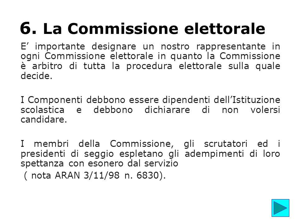 6. La Commissione elettorale E' importante designare un nostro rappresentante in ogni Commissione elettorale in quanto la Commissione è arbitro di tut