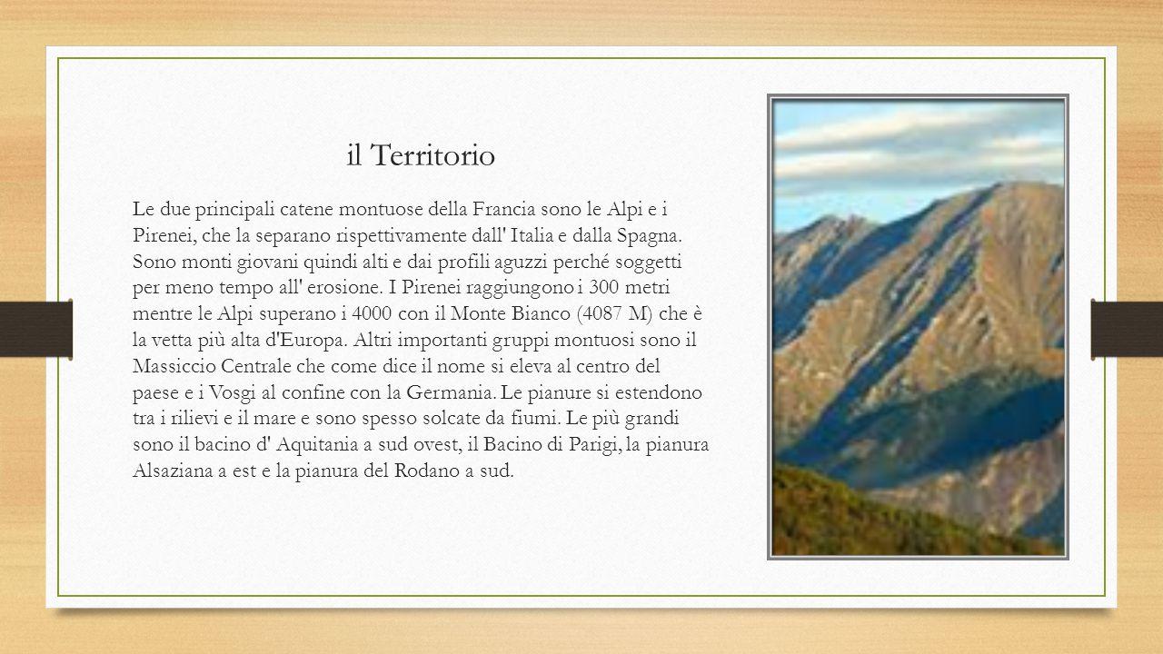 il Territorio Le due principali catene montuose della Francia sono le Alpi e i Pirenei, che la separano rispettivamente dall' Italia e dalla Spagna. S