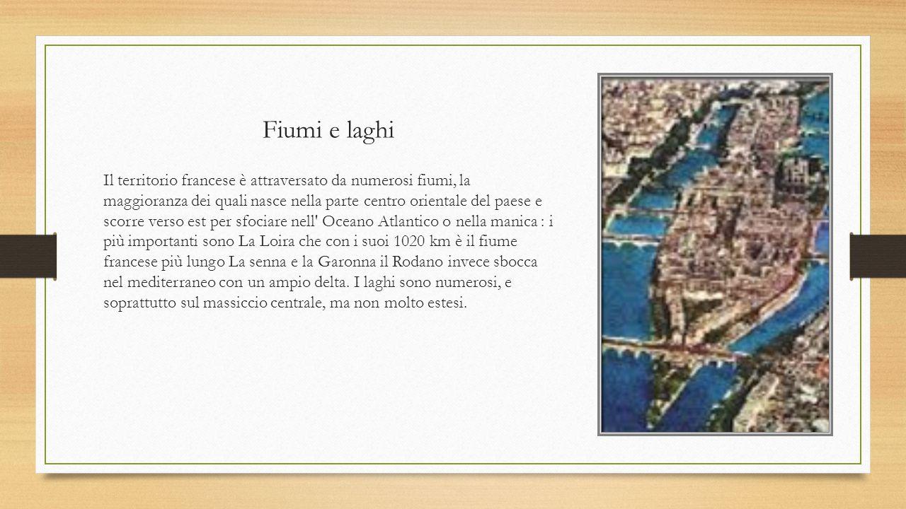 Fiumi e laghi Il territorio francese è attraversato da numerosi fiumi, la maggioranza dei quali nasce nella parte centro orientale del paese e scorre