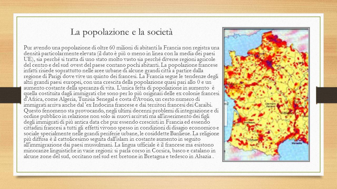 La popolazione e la società Pur avendo una popolazione di oltre 60 milioni di abitanti la Francia non registra una densità particolarmente elevata (il