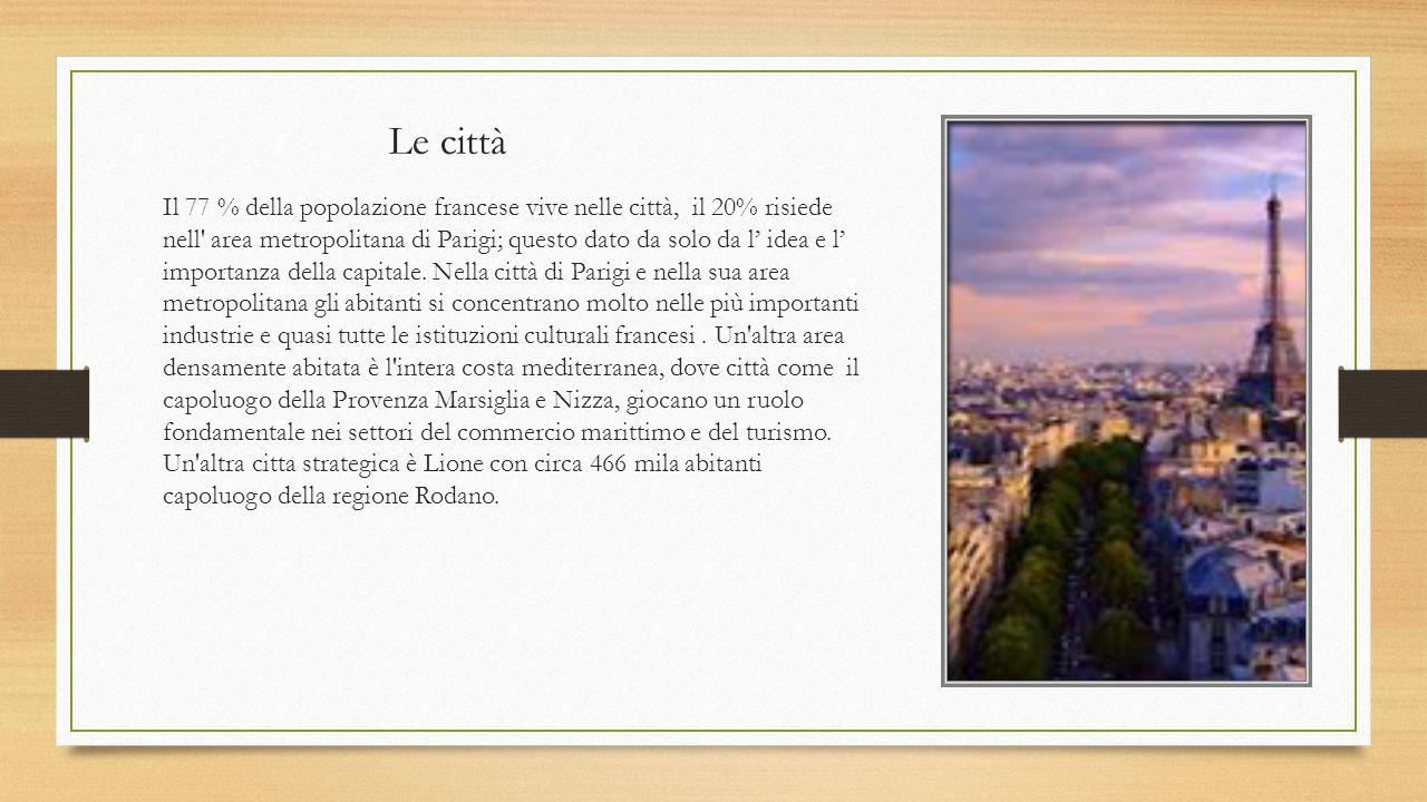Le città Il 77 % della popolazione francese vive nelle città, il 20% risiede nell' area metropolitana di Parigi; questo dato da solo da l' idea e l' i