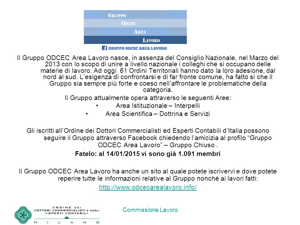 Commissione Lavoro Il Gruppo ODCEC Area Lavoro nasce, in assenza del Consiglio Nazionale, nel Marzo del 2013 con lo scopo di unire a livello nazionale