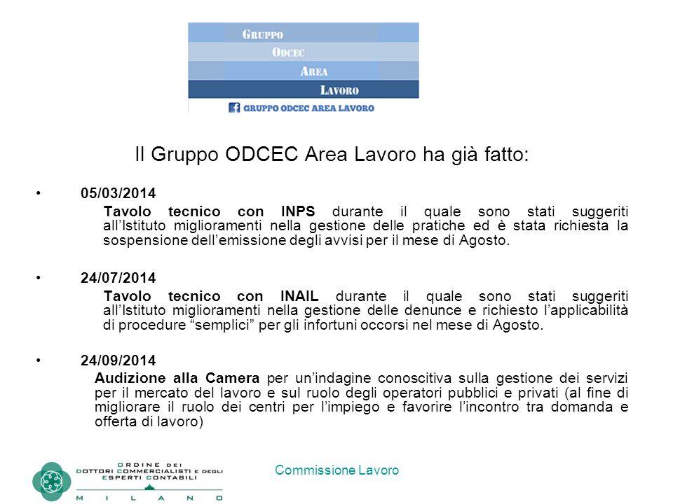 Commissione Lavoro Il Gruppo ODCEC Area Lavoro ha già fatto: 05/03/2014 Tavolo tecnico con INPS durante il quale sono stati suggeriti all'Istituto mig
