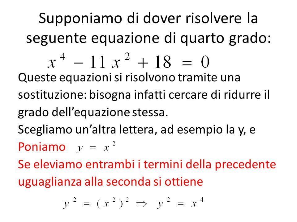 Supponiamo di dover risolvere la seguente equazione di quarto grado: Queste equazioni si risolvono tramite una sostituzione: bisogna infatti cercare d