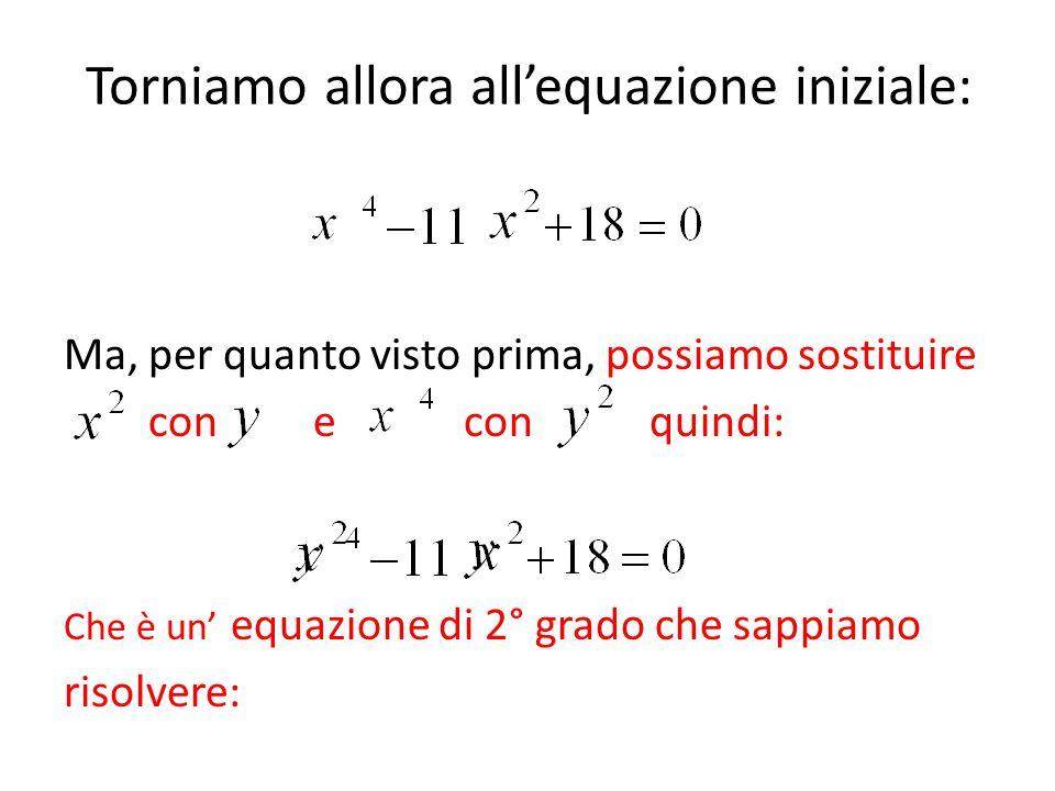 Torniamo allora all'equazione iniziale: Ma, per quanto visto prima, possiamo sostituire con e con quindi: Che è un' equazione di 2° grado che sappiamo