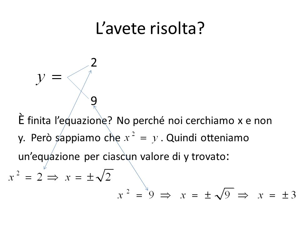 L'avete risolta? 2 9 È finita l'equazione? No perché noi cerchiamo x e non y. Però sappiamo che. Quindi otteniamo un'equazione per ciascun valore di y