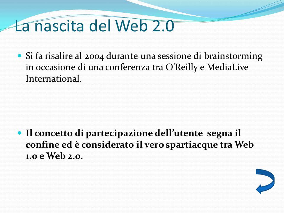 La nascita del Web 2.0 Si fa risalire al 2004 durante una sessione di brainstorming in occasione di una conferenza tra O Reilly e MediaLive International.