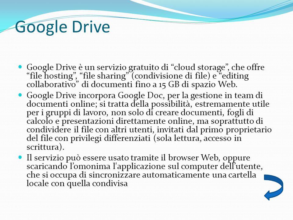 Google Drive Google Drive è un servizio gratuito di cloud storage , che offre file hosting , file sharing (condivisione di file) e editing collaborativo di documenti fino a 15 GB di spazio Web.
