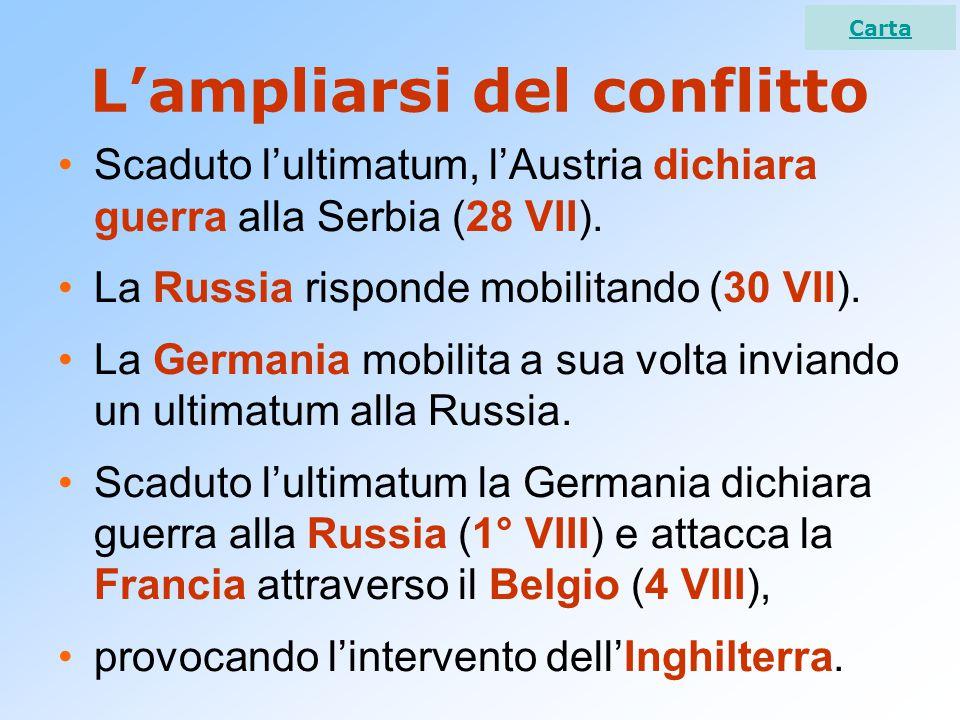 L'ampliarsi del conflitto Scaduto l'ultimatum, l'Austria dichiara guerra alla Serbia (28 VII). La Russia risponde mobilitando (30 VII). La Germania mo