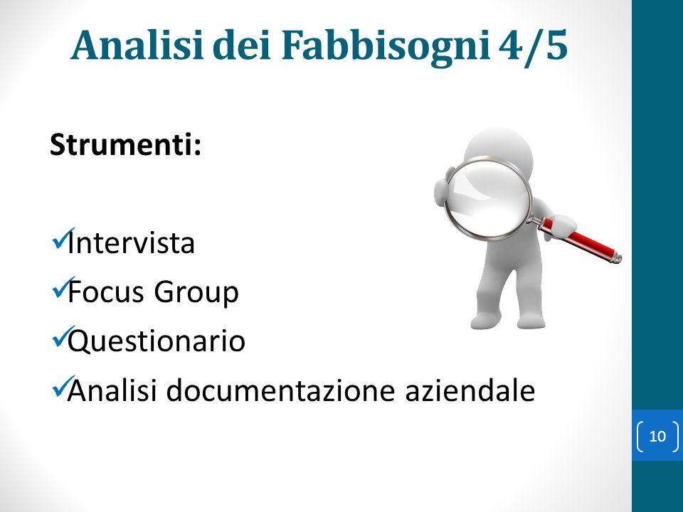 Analisi dei Fabbisogni 4/5 Strumenti: Intervista Focus Group Questionario Analisi documentazione aziendale 10