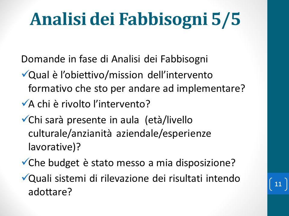 Analisi dei Fabbisogni 5/5 Domande in fase di Analisi dei Fabbisogni Qual è l'obiettivo/mission dell'intervento formativo che sto per andare ad implem