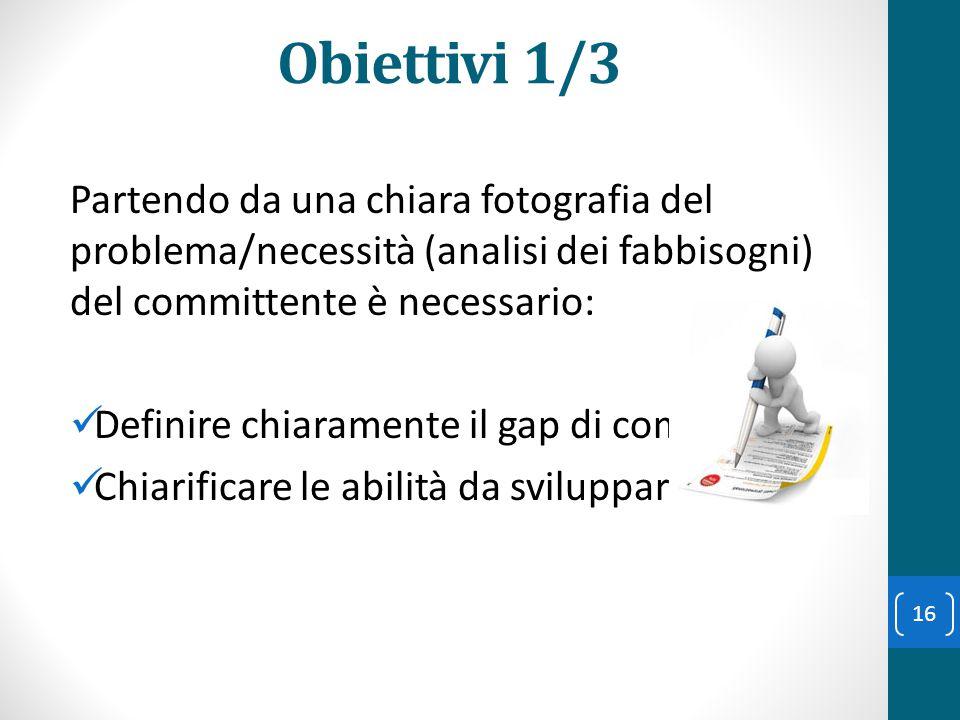 Obiettivi 1/3 Partendo da una chiara fotografia del problema/necessità (analisi dei fabbisogni) del committente è necessario: Definire chiaramente il