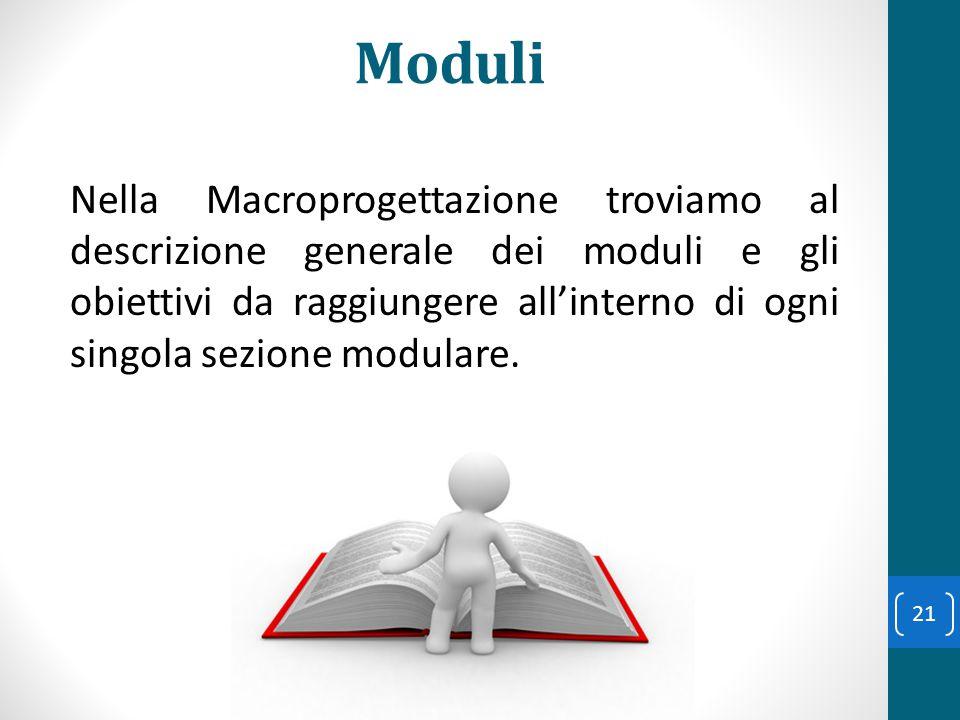 Moduli Nella Macroprogettazione troviamo al descrizione generale dei moduli e gli obiettivi da raggiungere all'interno di ogni singola sezione modular