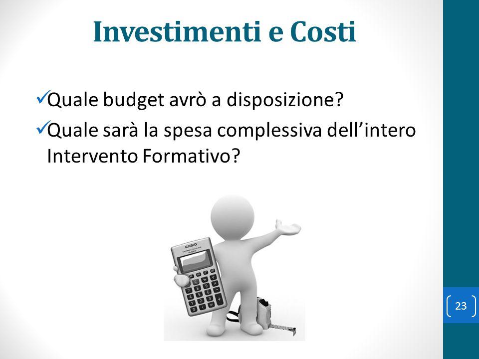 Investimenti e Costi Quale budget avrò a disposizione? Quale sarà la spesa complessiva dell'intero Intervento Formativo? 23
