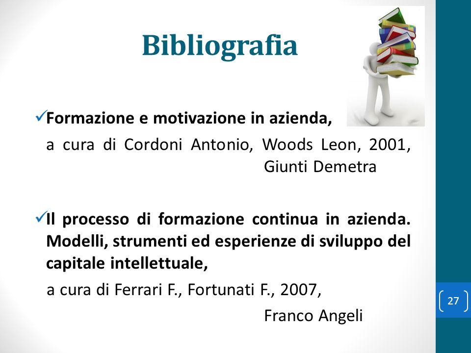 Bibliografia Formazione e motivazione in azienda, a cura di Cordoni Antonio, Woods Leon, 2001, Giunti Demetra Il processo di formazione continua in az