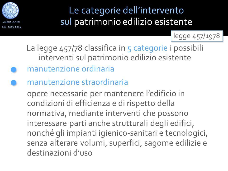 valerio cutini Le categorie dell'intervento sul patrimonio edilizio esistente a.a. 2013-2014 La legge 457/78 classifica in 5 categorie i possibili int
