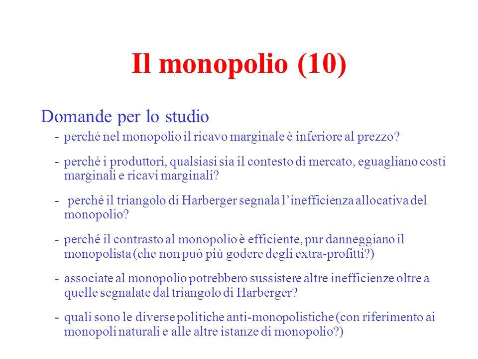 Il monopolio (11) Provate a pensare all'Enel -si tratta di un monopolio naturale.