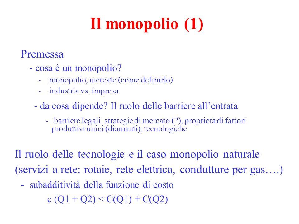 Il monopolio (2) Breve ripasso - l'ottimo per tutti i produttori: R ma = C ma - nel caso del monopolista, R ma è diverso da R me - l'ottima q per il monopolista = OE, ma per la collettività è OG p, c q A B D E F C O G