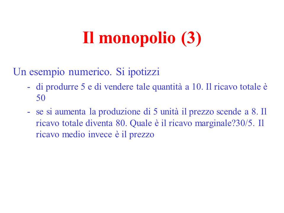 Il monopolio (4) L'inefficienza del monopolio - la perdita secca (il triangolo di Harberger) = CFD - i profitti (compensabili dall'incremento di rendita del consumatore) = ABFC - un cenno alle inefficienze X (tecniche, produttive) p, c q A B D E F Riferimento alla frontiera di produzione C O G H