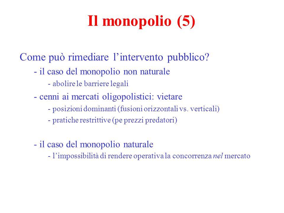 Il monopolio (6) EO A D C G Se si produce la quantità efficiente, Perdite unitarie = GD Perdite totali = GDBF B F G