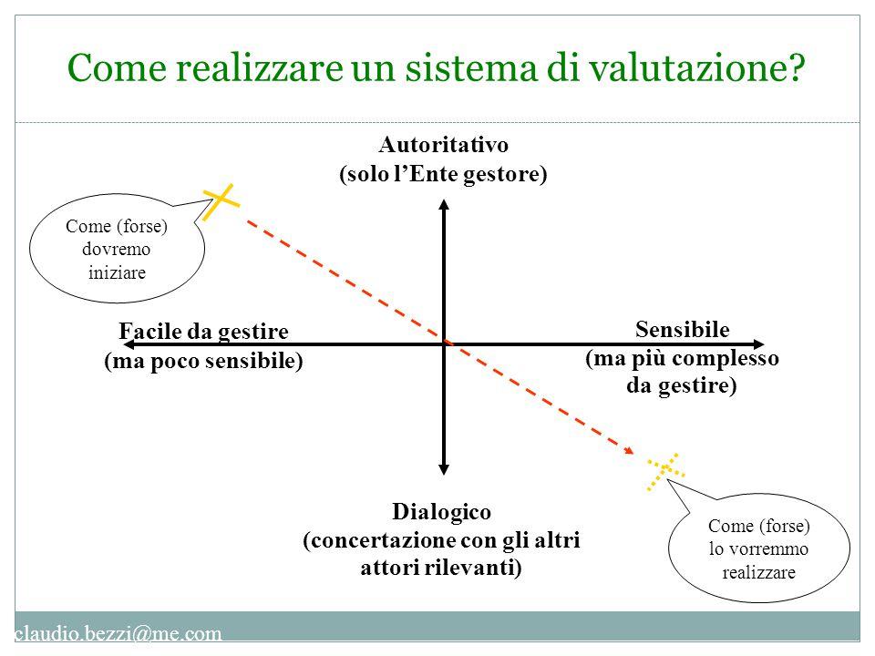 claudio.bezzi@me.com Come realizzare un sistema di valutazione? Facile da gestire (ma poco sensibile) Autoritativo (solo l'Ente gestore) Come (forse