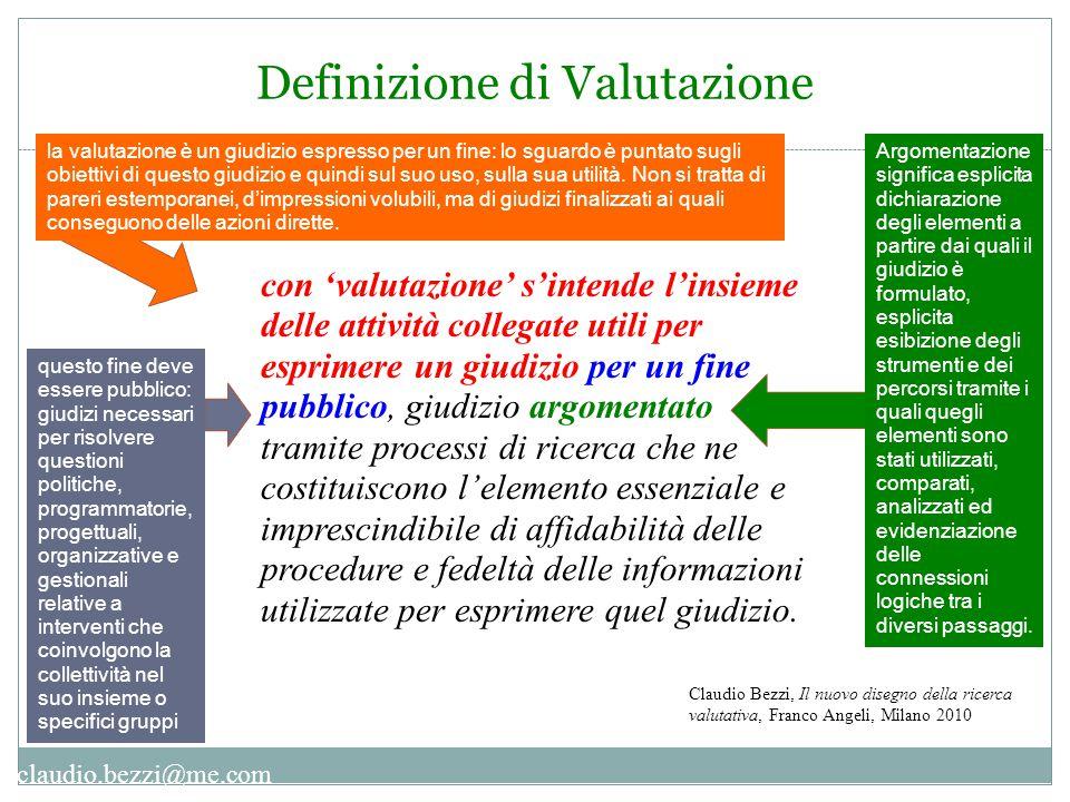 claudio.bezzi@me.com Definizione di Valutazione con 'valutazione' s'intende l'insieme delle attività collegate utili per esprimere un giudizio per un