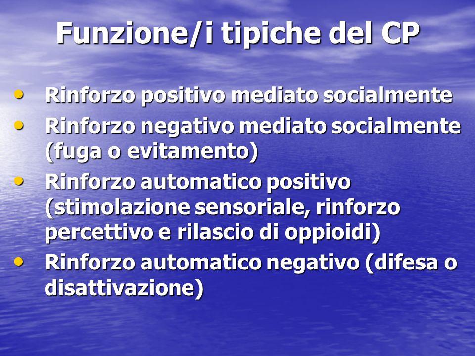 Funzione/i tipiche del CP Rinforzo positivo mediato socialmente Rinforzo positivo mediato socialmente Rinforzo negativo mediato socialmente (fuga o ev