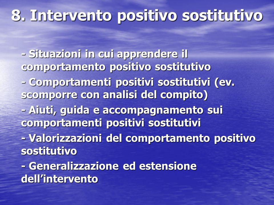 8. Intervento positivo sostitutivo - Situazioni in cui apprendere il comportamento positivo sostitutivo - Comportamenti positivi sostitutivi (ev. scom