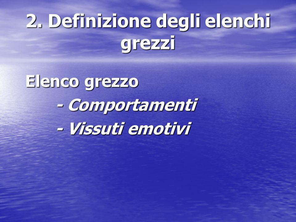 2. Definizione degli elenchi grezzi Elenco grezzo - Comportamenti - Vissuti emotivi