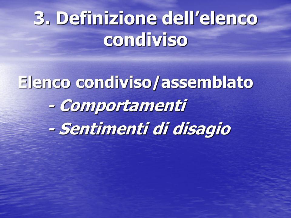 3. Definizione dell'elenco condiviso Elenco condiviso/assemblato - Comportamenti - Sentimenti di disagio