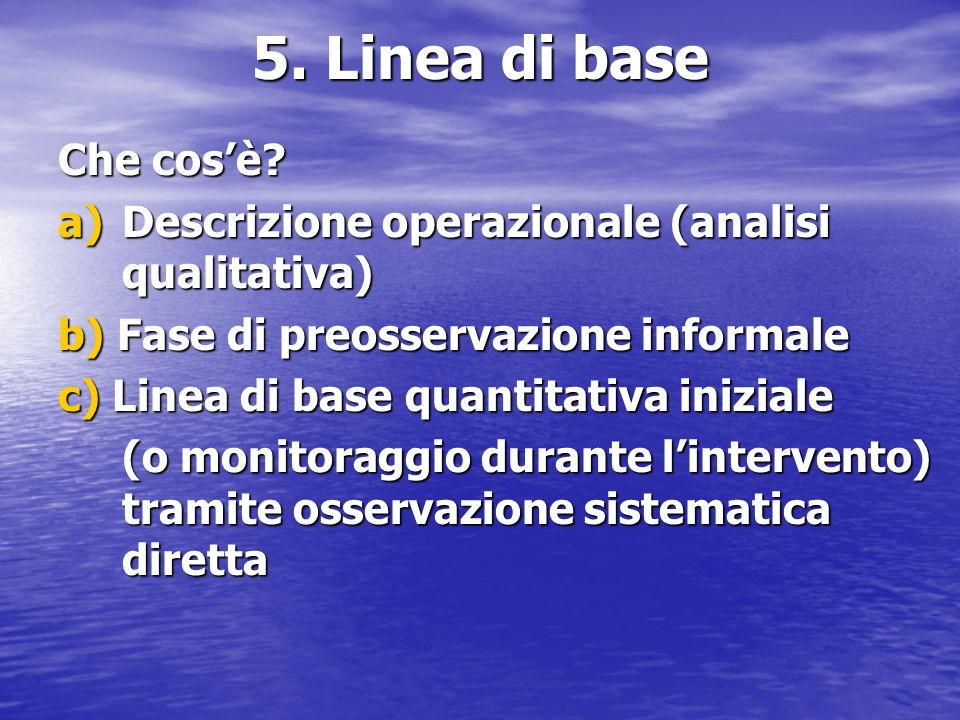 5. Linea di base Che cos'è? a)Descrizione operazionale (analisi qualitativa) b) Fase di preosservazione informale c) Linea di base quantitativa inizia