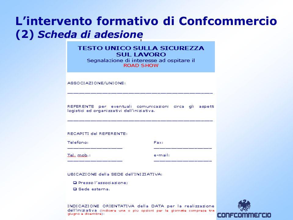 9 L'intervento formativo di Confcommercio (2) Scheda di adesione