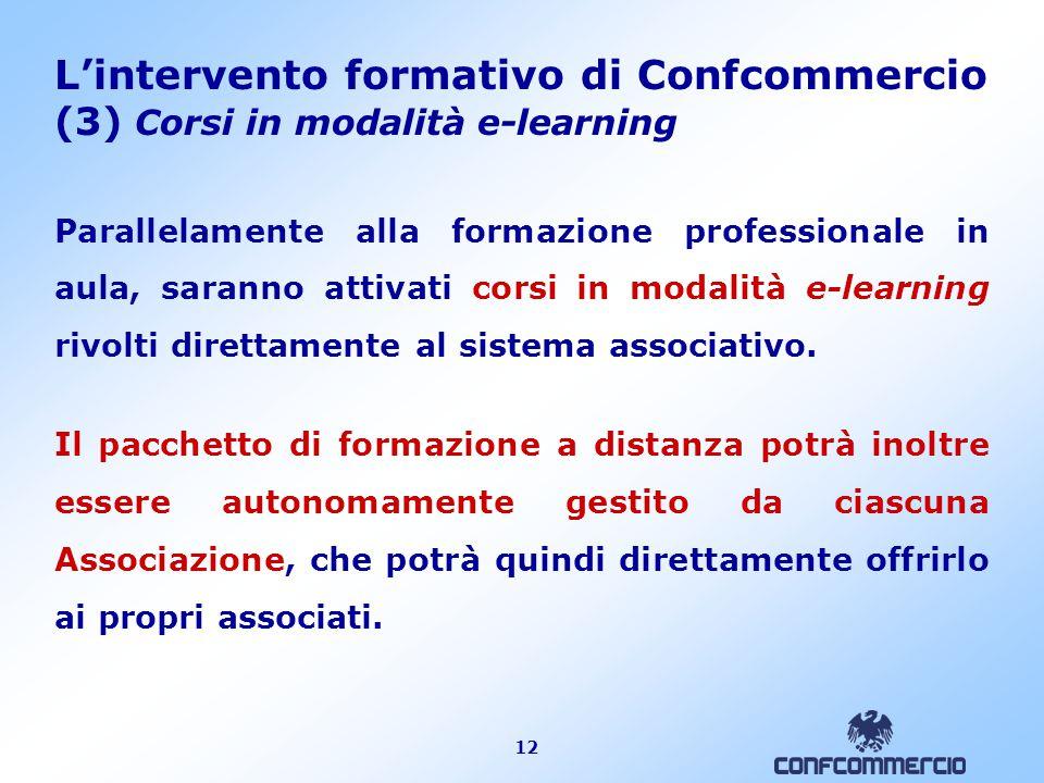 12 L'intervento formativo di Confcommercio (3) Corsi in modalità e-learning Parallelamente alla formazione professionale in aula, saranno attivati cor