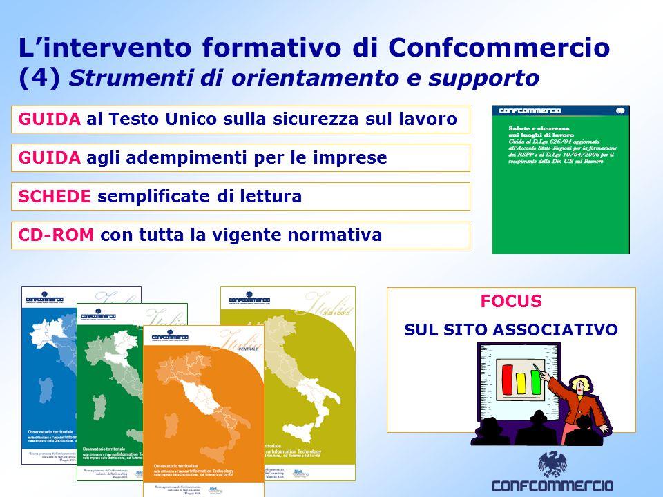 13 L'intervento formativo di Confcommercio (4) Strumenti di orientamento e supporto GUIDA al Testo Unico sulla sicurezza sul lavoro GUIDA agli adempim