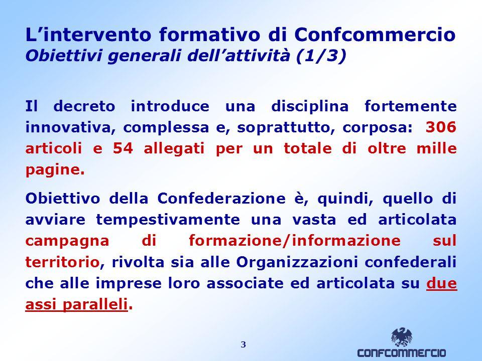 3 L'intervento formativo di Confcommercio Obiettivi generali dell'attività (1/3) Il decreto introduce una disciplina fortemente innovativa, complessa