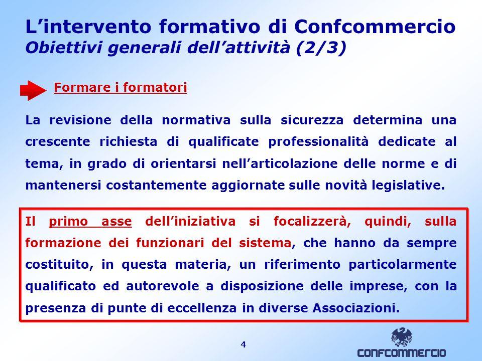 4 L'intervento formativo di Confcommercio Obiettivi generali dell'attività (2/3) Formare i formatori La revisione della normativa sulla sicurezza dete