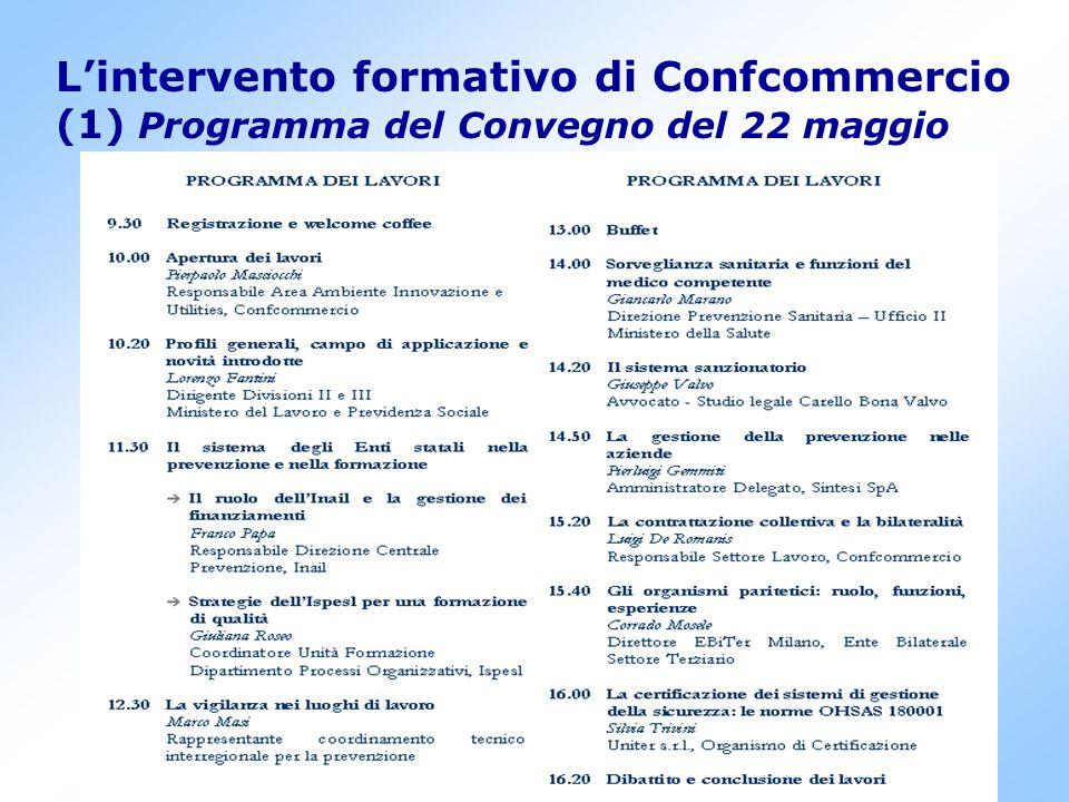 7 L'intervento formativo di Confcommercio (1) Programma del Convegno del 22 maggio