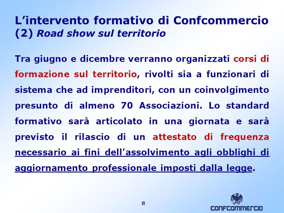 8 L'intervento formativo di Confcommercio (2) Road show sul territorio Tra giugno e dicembre verranno organizzati corsi di formazione sul territorio,
