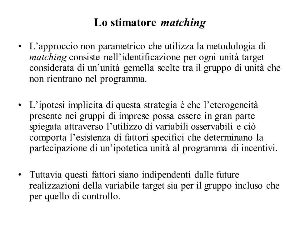 Lo stimatore matching L'approccio non parametrico che utilizza la metodologia di matching consiste nell'identificazione per ogni unità target considerata di un'unità gemella scelte tra il gruppo di unità che non rientrano nel programma.